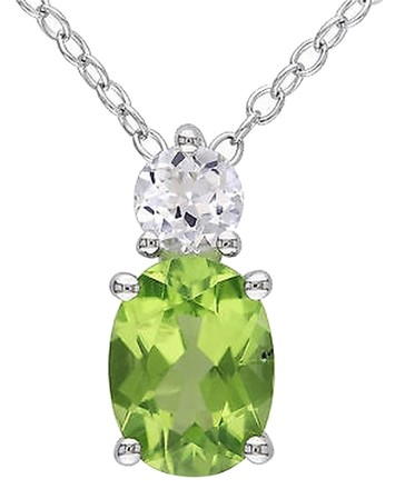 Other Sterling Silver 1.57 Ct Tw Peridot White Sapphire Fashion Pendant With Chain