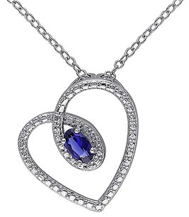 Sterling Silver 38 Ct Tgw Created Blue Sapphire Fashion V Pendant Necklace