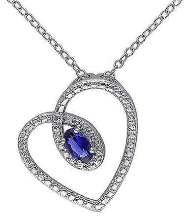 Other Sterling Silver 38 Ct Tgw Created Blue Sapphire Fashion V Pendant Necklace