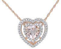 Other 10k Pink Gold 15 Ct Diamond 58 Ct Morganite Heart Love Pendant Necklace