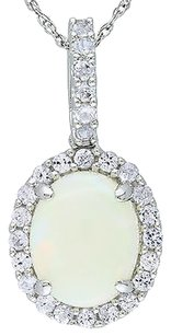 10k White Gold 2 16 Ct Tgw Opal And Created White Sapphire Fashion Pendant