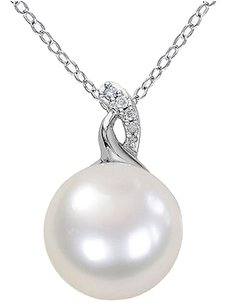 12-12.5 Mm White Freshwater Pearl Pendant Silver Chain 0.03 Ct Diamond Gh I3