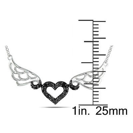 Other Sterling Silver 16 Ct Tw Black Diamond Heart Love Pendant Necklace With Chain