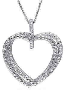 Sterling Silver Diamond Heart Pendant Necklace With Chain Gh I2i3