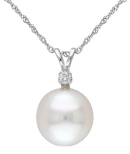 14k White Gold Diamond 9-10 Mm South Sea Pearl Pendant W Chain G-h-i I1-i2