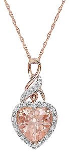 Other 10k Pink Gold Diamond 1 34 Ct Morganite Heart Love Pendant Necklace Gh I2i3