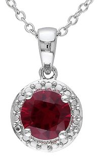 Sterling Silver 1 58 Ct Tgw Ruby Fashion Pendant Necklace With Chain