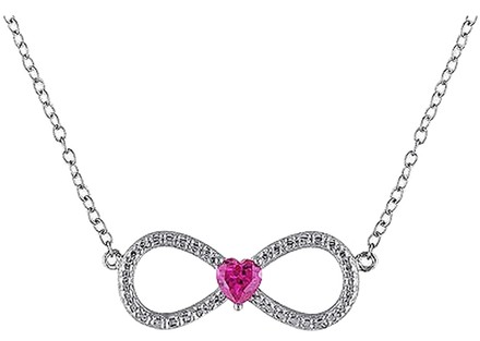 Other Silver 14 Ct Ruby Infinity Love Swivel Crossover Heart Pendant Necklace