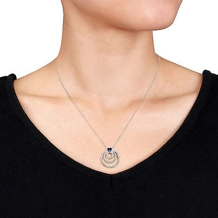 Other Sterling Silver 13 Ct Sapphire Circle Geoetric Heart Love Pendant Necklace