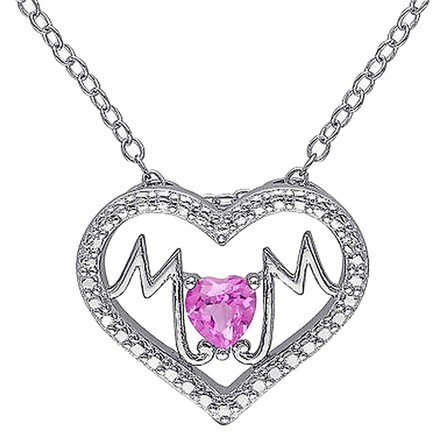 Other Sterling Silver 14 Ct Pink Sapphire Heart Heart-in-heart Love Pendant Necklace
