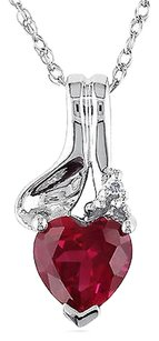 Other 10k White Gold Diamond And Ruby Pendant Necklace Tdw .005 Ct