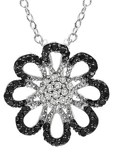 Other Sterling Silver 13 Ct Tw Black White Diamond Flower Nature Pendant Necklace