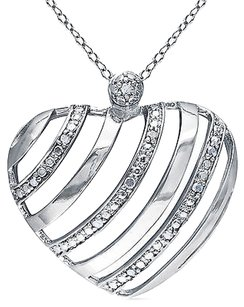 Other Sterling Silver 110 Ct Diamond Tw Heart Pendant Necklace With Chain I3