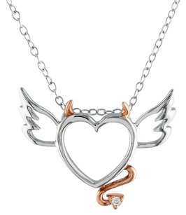 Sterling Silver Diamond Heart Love Pendant Necklace With Chain Gh I2i3