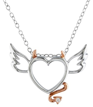 Other Sterling Silver Diamond Heart Love Pendant Necklace With Chain Gh I2i3