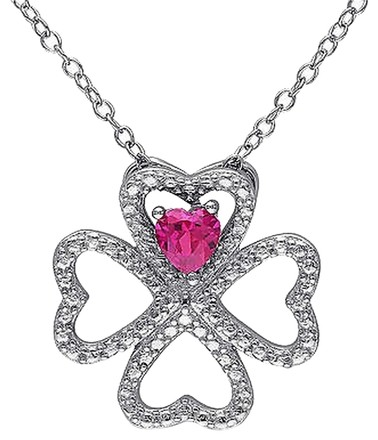 Other Sterling Silver 14 Ct Ruby Heart 4 Lucky Clover Nature Love Pendant Necklace