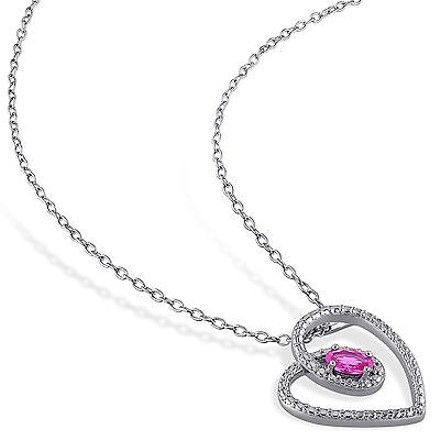 Other Sterling Silver 38 Ct Tgw Pink Sapphire Fashion Love Heart Pendant Necklace