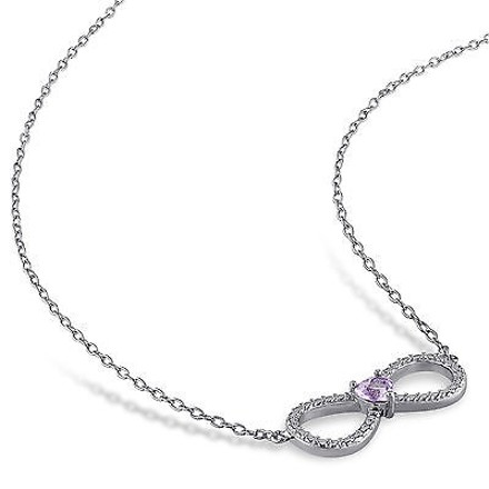 Other Silver 15 Ct Amethyst Infinity Love Swivel Crossover Heart Pendant Necklace