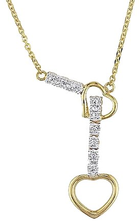Other 10k Yellow Gold 18 Diamond Heart Love Necklace H-i I1-i2