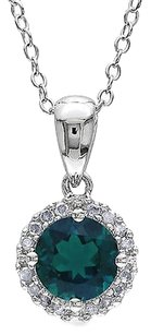 Sterling Silver 0.91 Ct Tw Diamond And Emerald Fashion Pendant W Chain Gh I3