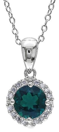 Other Sterling Silver 0.91 Ct Tw Diamond And Emerald Fashion Pendant W Chain Gh I3