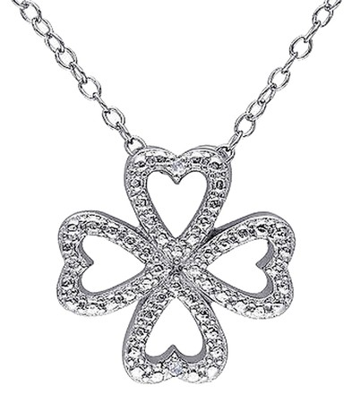 Other Sterling Silver Diamond Nature Clover 4-leaf Lucky Pendant Necklace With Chain