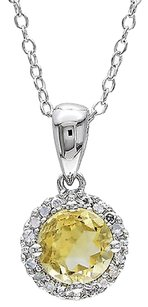 Sterling Silver 0.84 Ct Tw Diamond And Citrine Fashion Pendant With Chain Gh I3