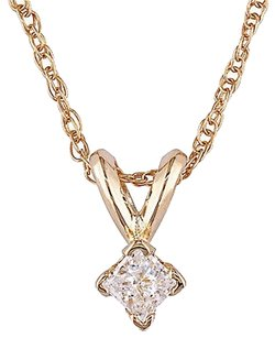 14k Yellow Gold 110 Ct Princess Cut Diamond Solitaire Pendant W Chain J-k I2-i3