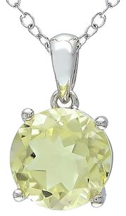 Sterling Silver 1.7 Ct Tw 8 Mm Round Lemon Quartz Solitaire Pendant With Chain
