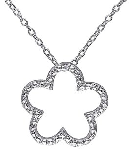 Other Sterling Silver Diamond Flower Nature Fashion Pendant Necklace With Chain Hij I3