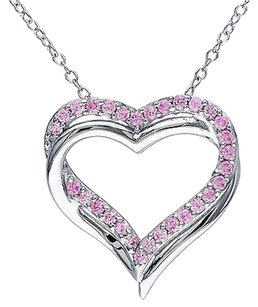Other Sterling Silver 12 Ct Pink Sapphire Double Heart Love Pendant Necklace