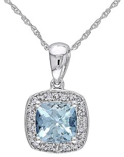 10k White Gold Diamond 45 Ct Aquamarine Fashion Pendant Necklace With Chain