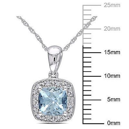 Other 10k White Gold Diamond 45 Ct Aquamarine Fashion Pendant Necklace With Chain
