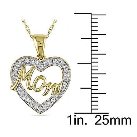 Other 10k Yellow White Gold Diamond Mom Heart Love Two-tone Pendant Necklace Chain