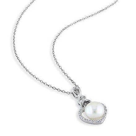Other 8 - 8.5 Mm White Freshwater Pearl Pendant Silver Chain .07 Ct Diamond Gh I2i3