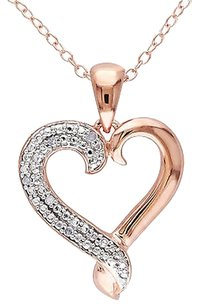 Other Rose Sterling Silver Diamond Heart Pendant Necklace With Chain Gh I2i3
