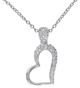Sterling Silver 16 Ct Diamond Tw Heart Pendant Necklace With Chain Gh I2i3