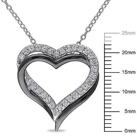 Other Sterling Silver 58 Ct White Sapphire Interlocking Heart Love Pendant Necklace