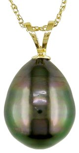 14k Yellow Gold 10-11mm Drop Tahitian Pearl Pendant Necklace W Chain