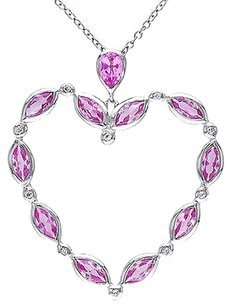 Other Sterling Silver Pink Sapphire White Topaz Heart Pendant Necklace W 18 Chain