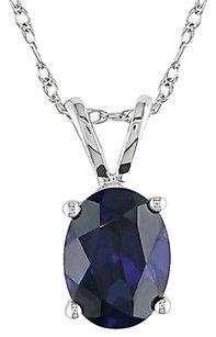 Other 10k White Gold 2 Ct Tgw Blue Sapphire Fashion Pendant Necklace With Chain