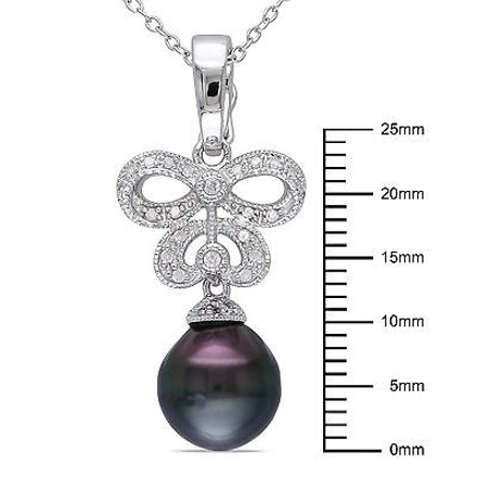 Other Sterling Silver 17 Ct Diamond 9-9.5 Mm Black Tahitian Pearl Pendant Necklace