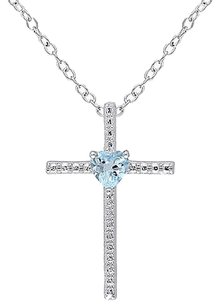 Other Sterling Silver 13 Ct Tgw Sky Blue Topaz Fashion Religious Pendant Necklace
