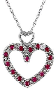 Other 14k White Gold Diamond And 13 Ct Ruby Heart Love Pendant Necklace 18 I1-i2