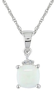 10k White Gold Cushion Opal And Diamond Accent Pendant Necklace I2-i3 G-h-i