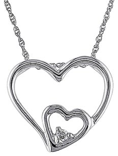 10k White Gold Diamond Twin Heart Pendant Necklace With Chain Gh I2i3