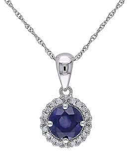 Other 10k White Gold 110 Ct Diamond 1 110 Ct Sapphire Pendant Necklace Gh I2i3