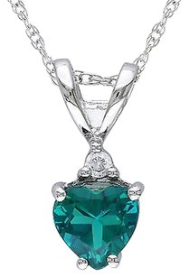 10k White Gold Diamond And 25 Ct Emerald Heart Love Pendant Necklace Gh I1i2