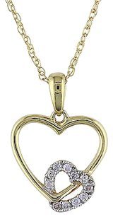 Other 10k Yellow Gold Diamond Interlocking Heart Love Pendant Necklace Gh I2i3