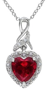 Sterling Silver 2.9 Ct Tw Diamond And Ruby Heart Love Pendant Necklace W Chain